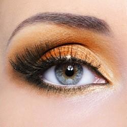 Make-up of woman eye with fashion orange eyeshadow